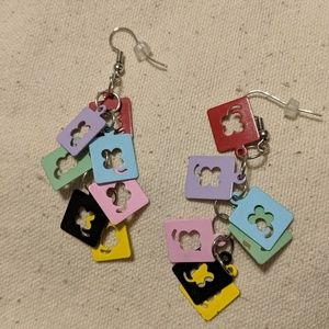 Lucky 4-leaf-clover colorful costume earrings